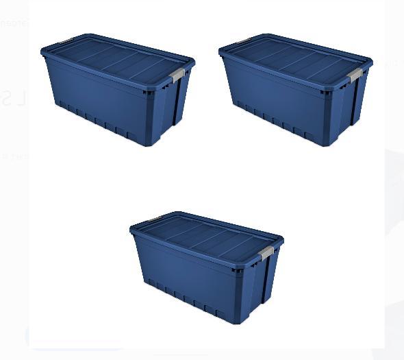 Plastic Blue Gallon Bin Tote, of 3