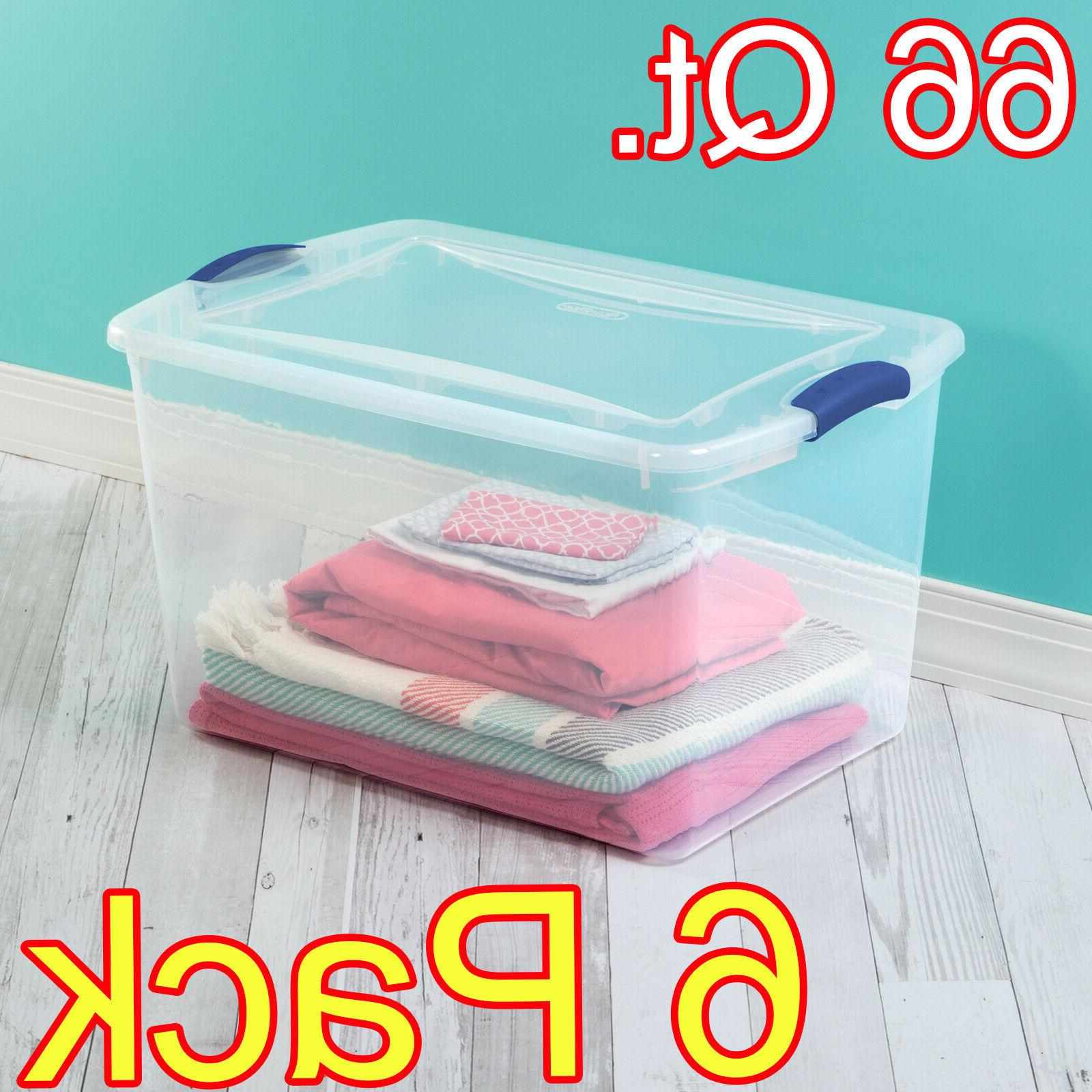 Plastic Storage Containers Organizers Bins Clear and Blue Se