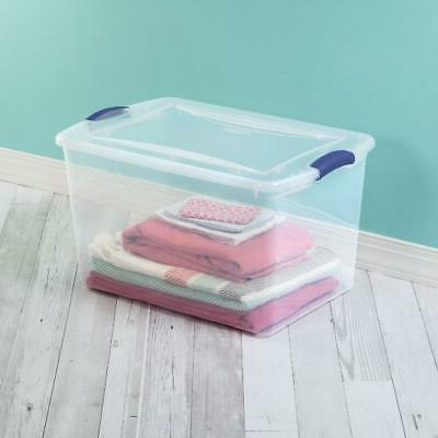 6 PACK- Large Clear Containers Lid Box Organizer NEW