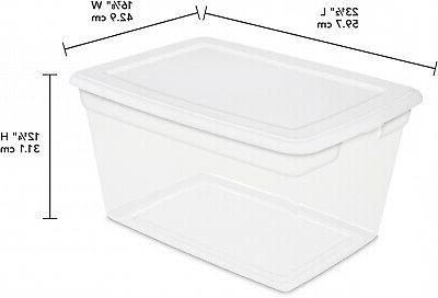 8 Sterilite 58 Qt Container Clear Stackable Bin Lid New