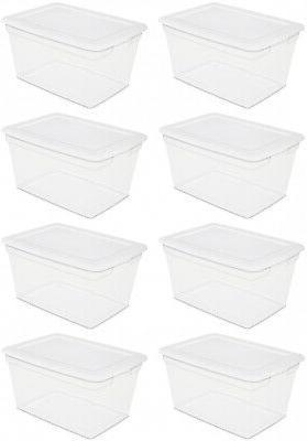 Sterilite 58 Quart Storage Box White Case of 8 Organizer Pla