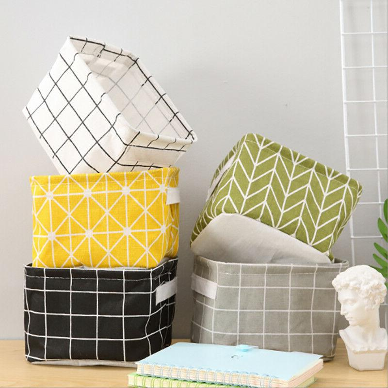 Square Storage Box Portable Foldable Handles Plaid Cosmetic