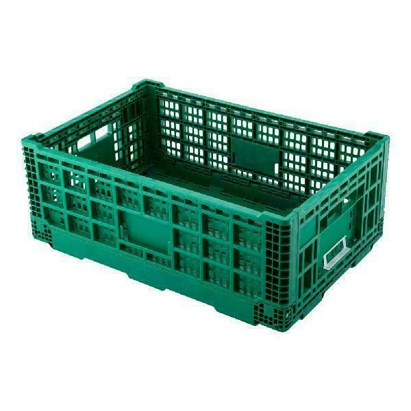 Rectangle Green Plastic 36L Collapsible Stackable box