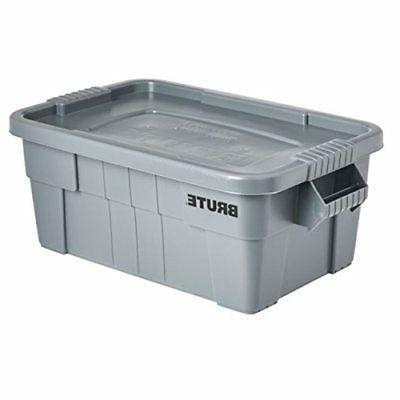 Rubbermaid Commercial BRUTE Tote Storage Bin with Lid 14-Gal