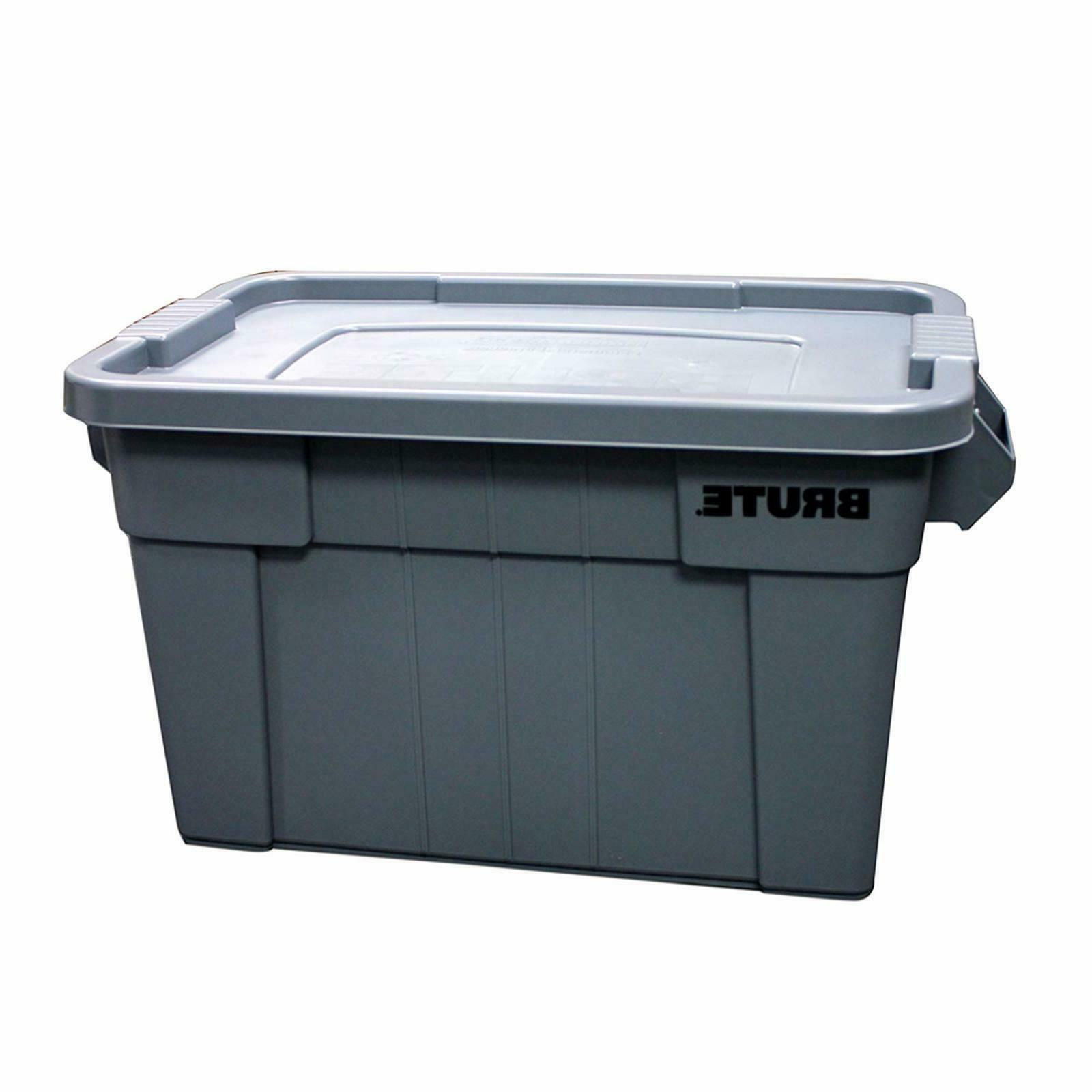 Rubbermaid Commercial BRUTE Tote with Lid, 20-Gallon, Gray,