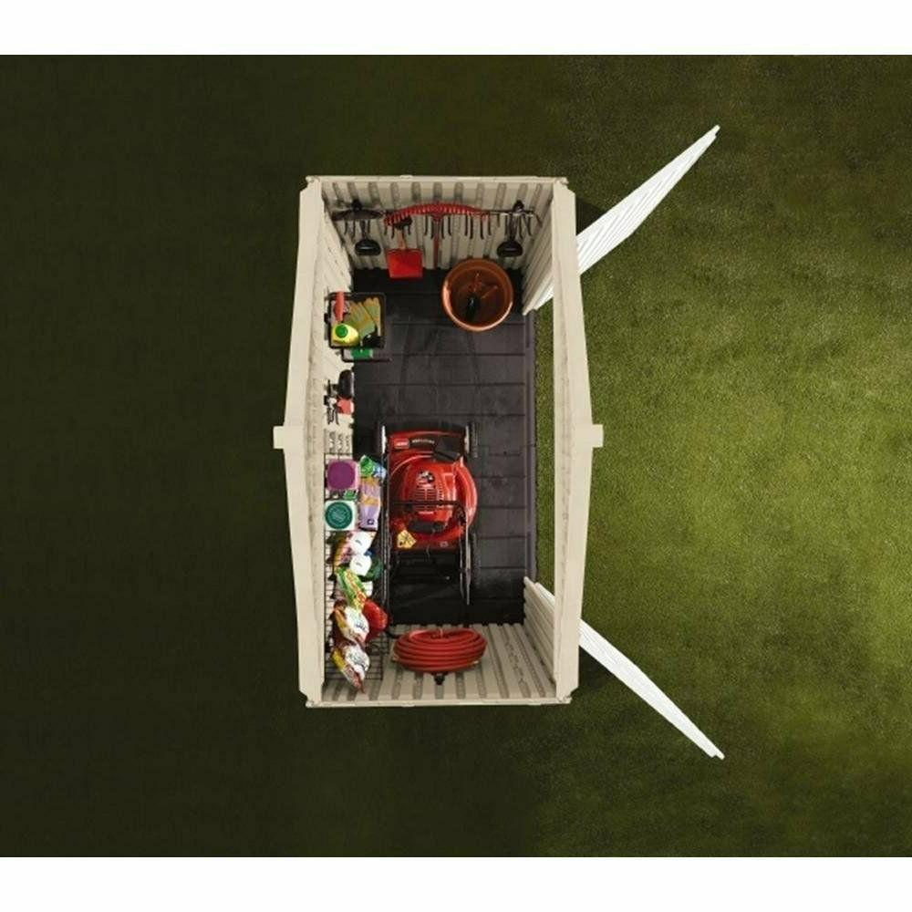 Rubbermaid Split-Lid Storage Shed, 18 Olive/Sandstone
