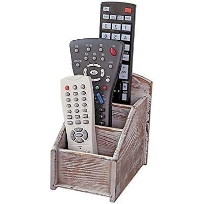 MyGift Rustic Drawer Organizers Wood Remote Control Caddy, 3