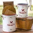 Rustic Farm House Country Set of Two White and Red Storage T