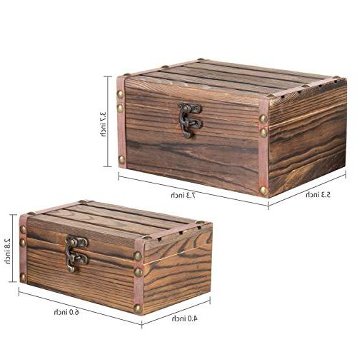MyGift Set Rustic Torched Finish Decorative Boxes/Jewelry Trinket Storage Chests