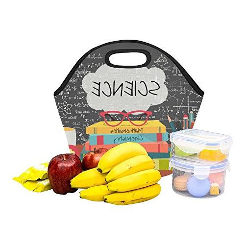 "InterestPrint Reusable Lunch Tote Bag 11.93"" School Pens Lunchbox Handbag Women Adult Kids"