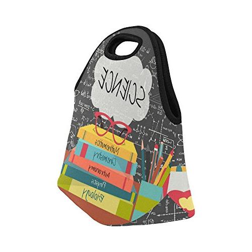 "InterestPrint Book Glasses Reusable Insulated Tote Cooler x 11.22"" x School Lunchbox Handbag for Women Adult"
