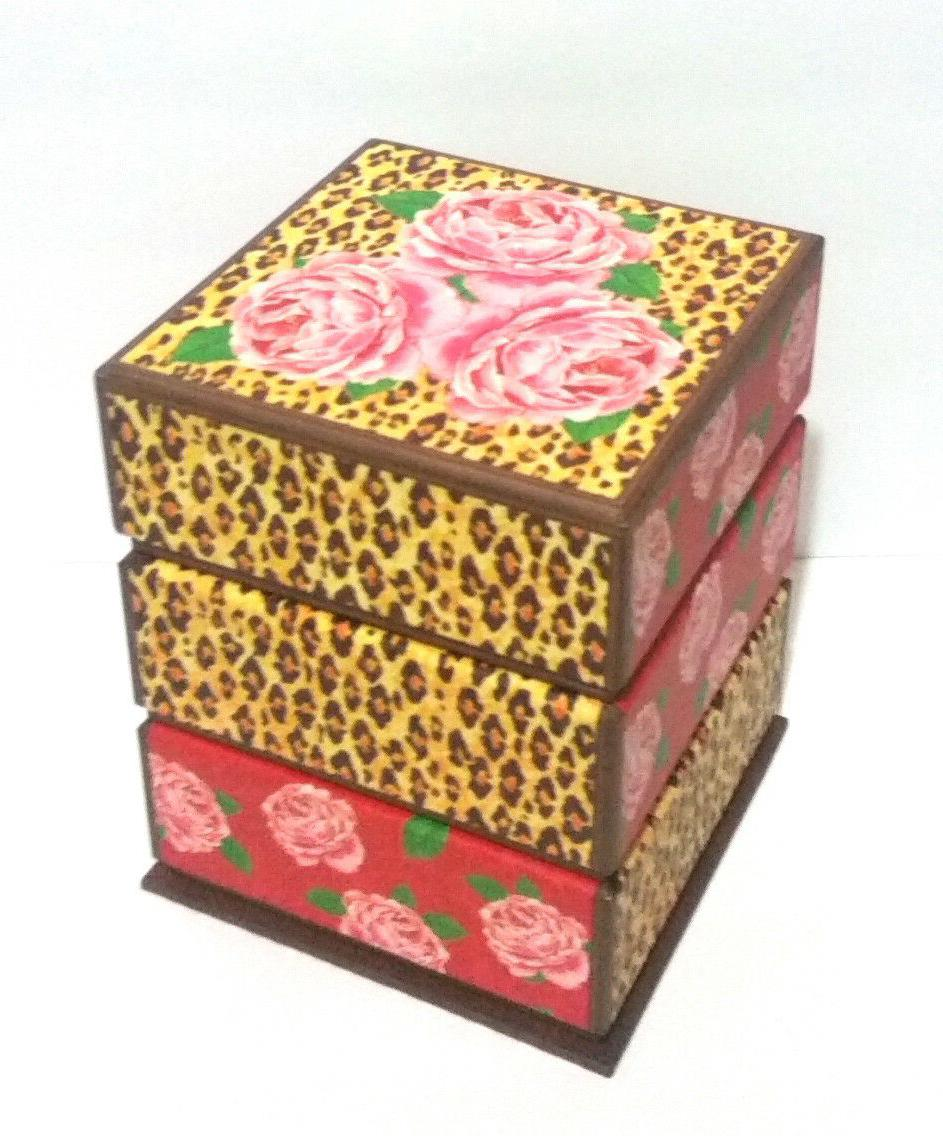 Set of 2 Print & Roses Storage Boxes, Punch