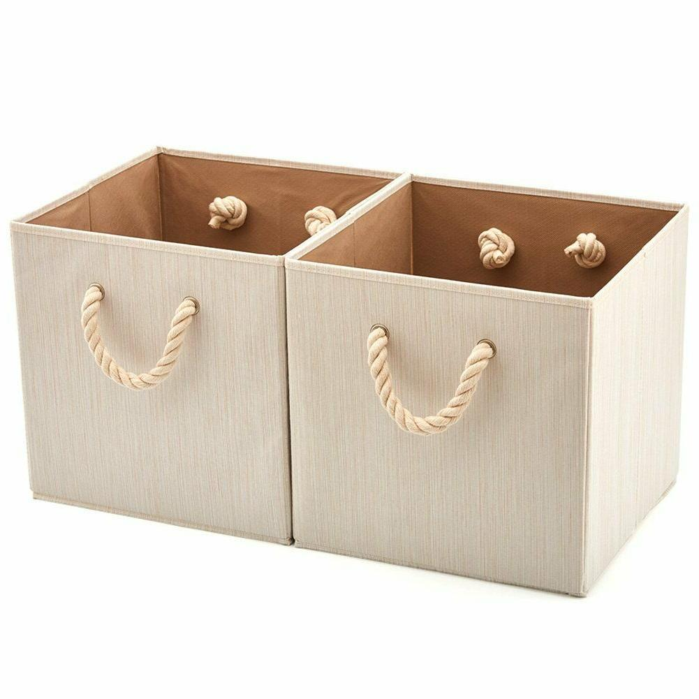 set of 2 foldable bamboo fabric storage