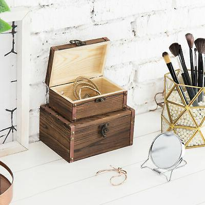 Set 2 Torched Wood Nesting Boxes/Jewelry Storage