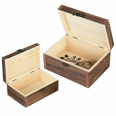 Set 2 Torched Wood Nesting Storage