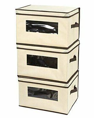 set of 3 foldable storage boxes documents