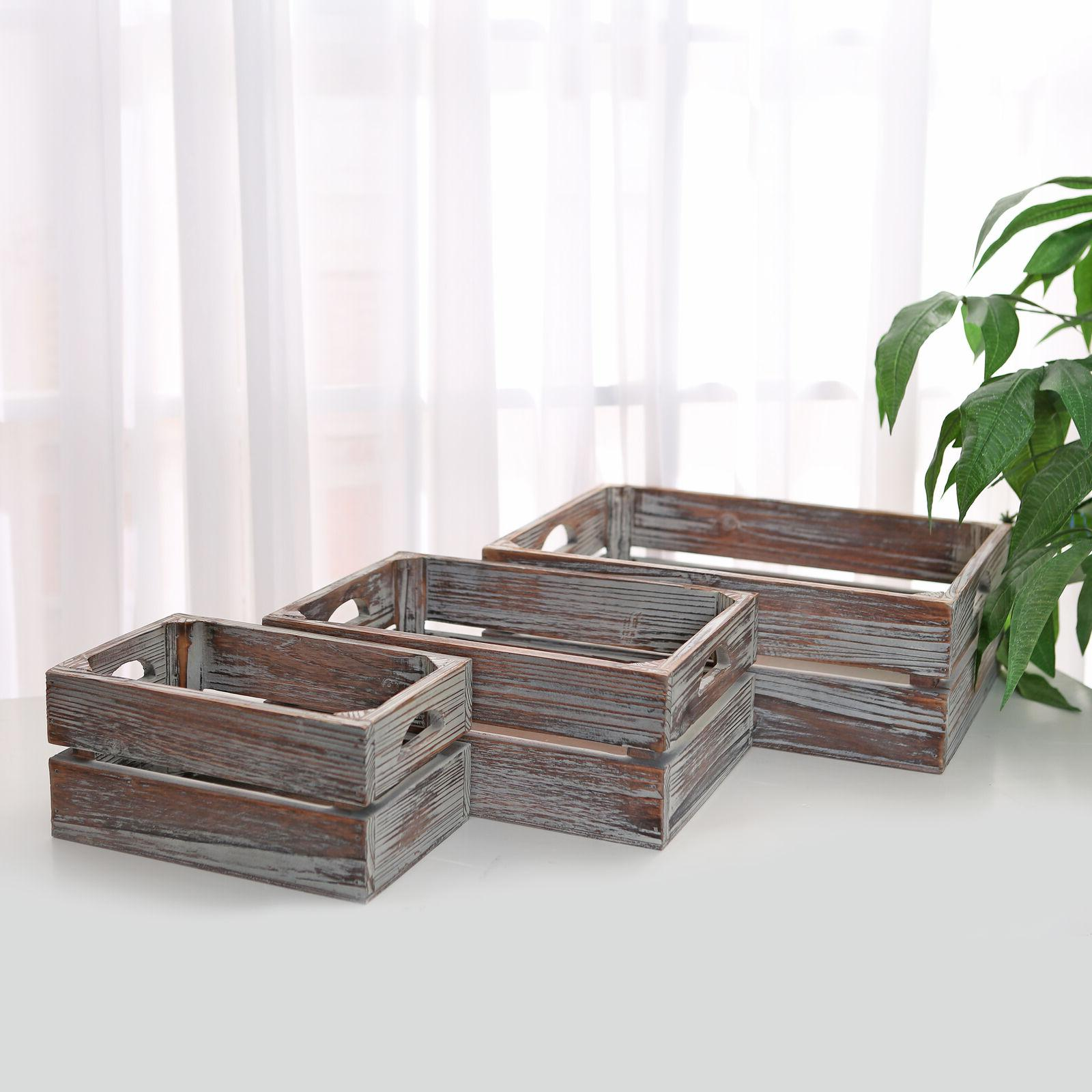 Set of 3 Finish Brown Wood Boxes Containers