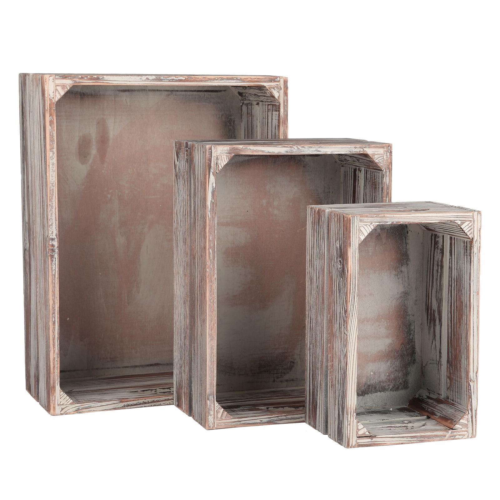 Set 3 Rustic Finish Nesting Boxes Containers