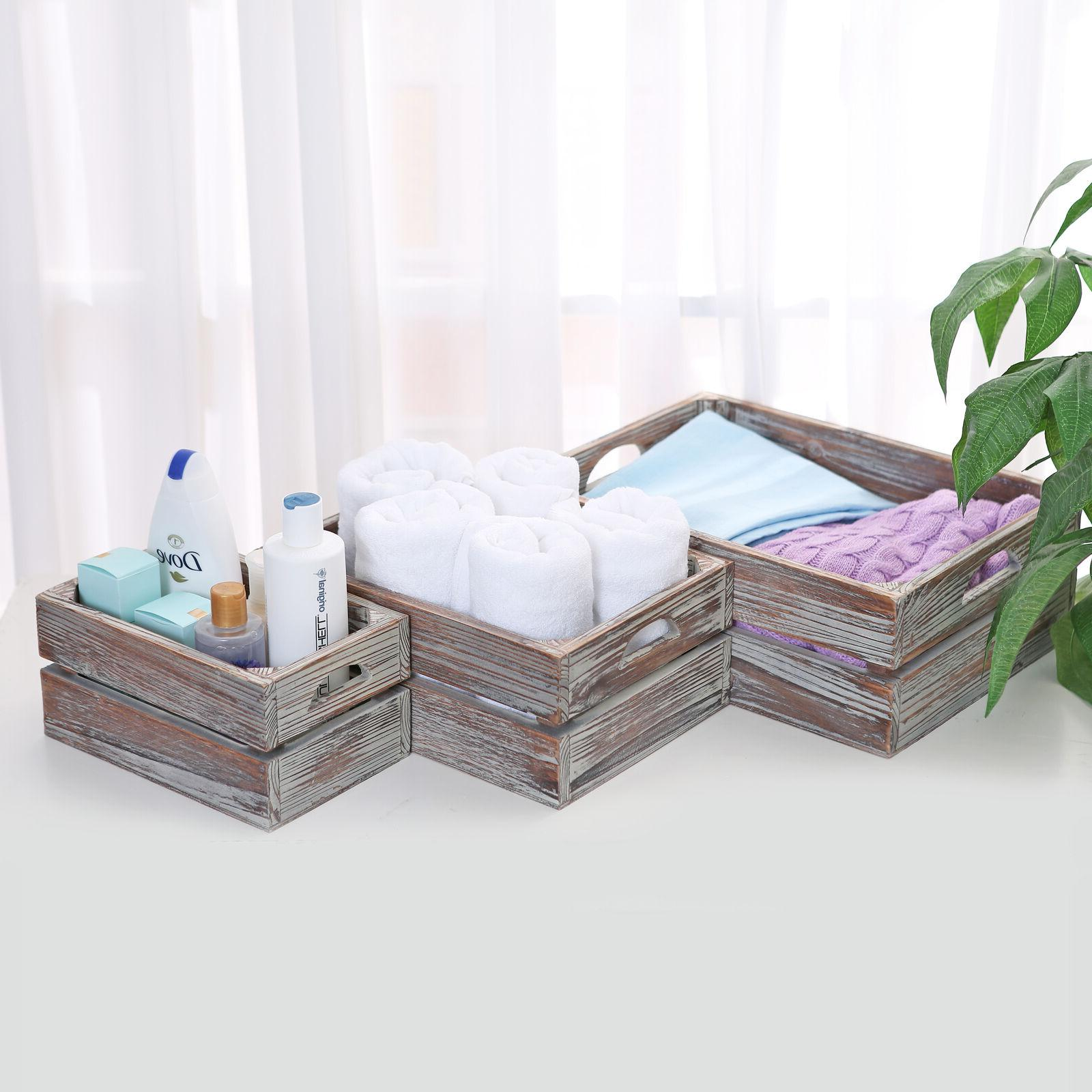Set Finish Wood Boxes Storage Containers
