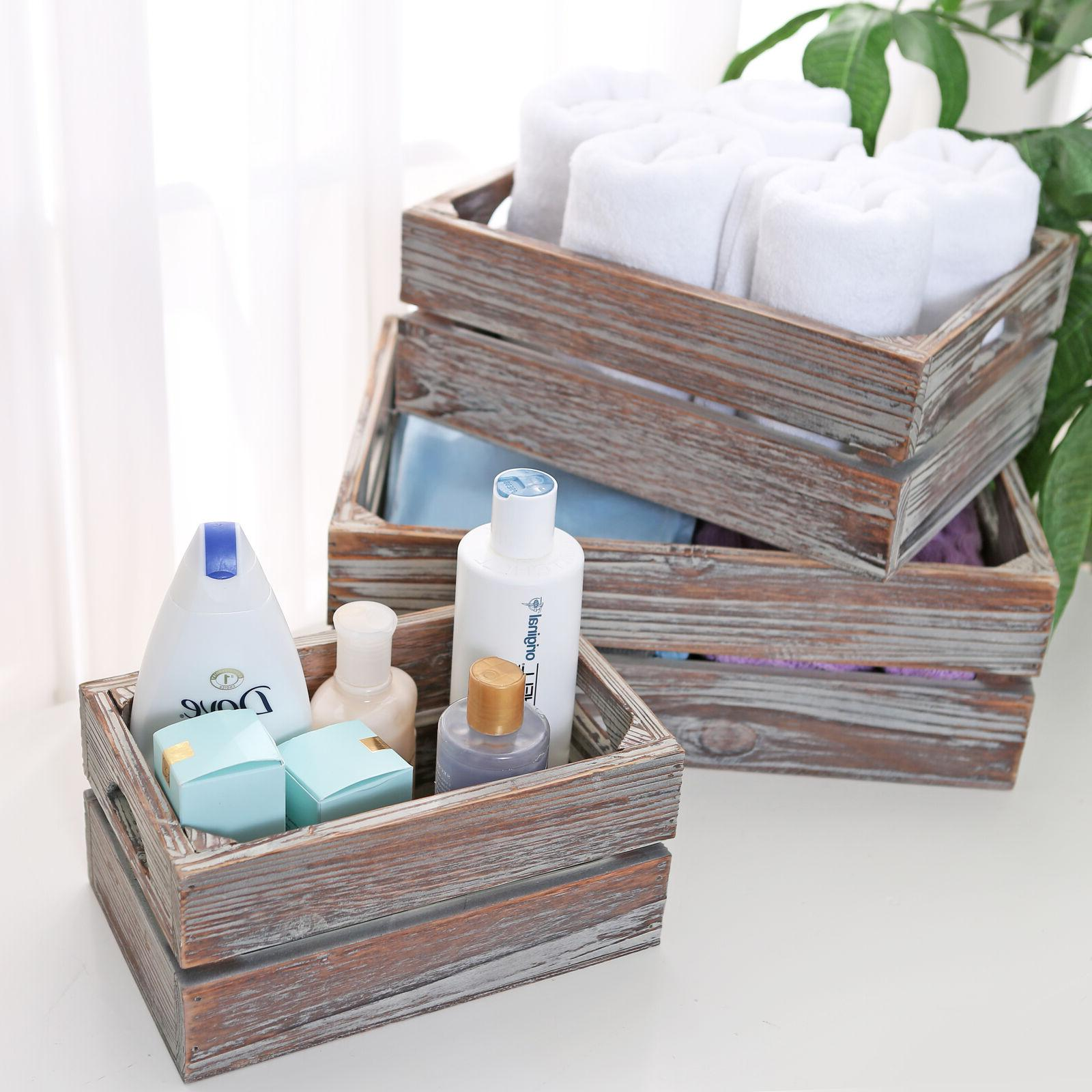 Set of Rustic Finish Boxes / Containers