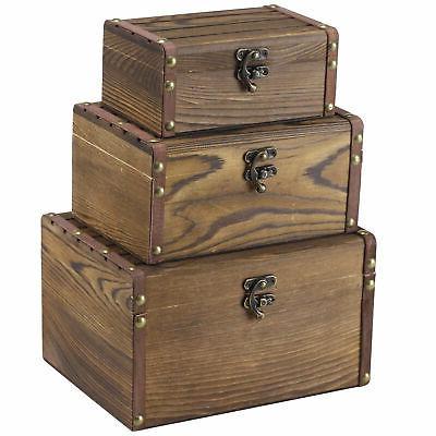 set of 3 vintage style wood decorative