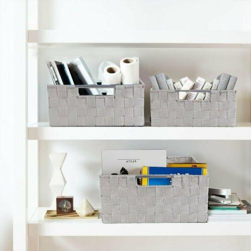 9 PCS Storage Set Organizer Bin for House Stackable Rectangular Woven