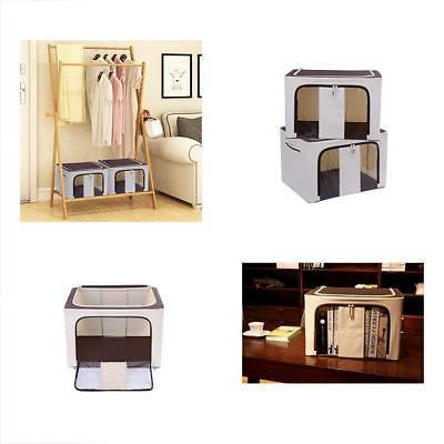 Set Shelf Baskets Of 2 Storage Bin Box With Lid & Dual Handl