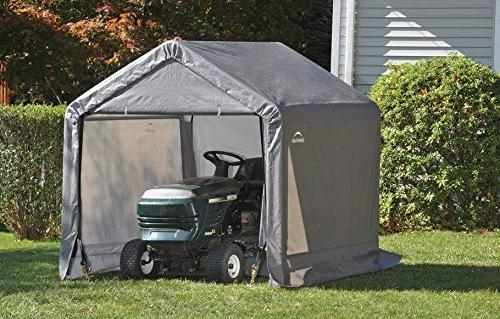Shed-in-a-Box All Season Steel Metal Peak Roof Storage Shed with Cover and Reusable Anchors