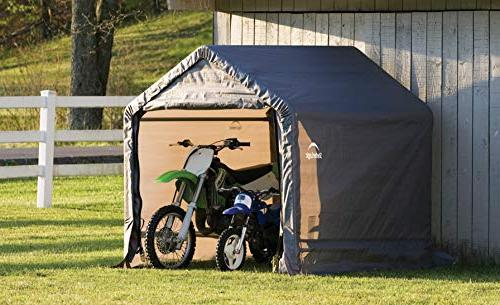 ShelterLogic x Shed-in-a-Box All Season Metal Peak Roof Outdoor Storage Cover and Heavy Reusable Auger
