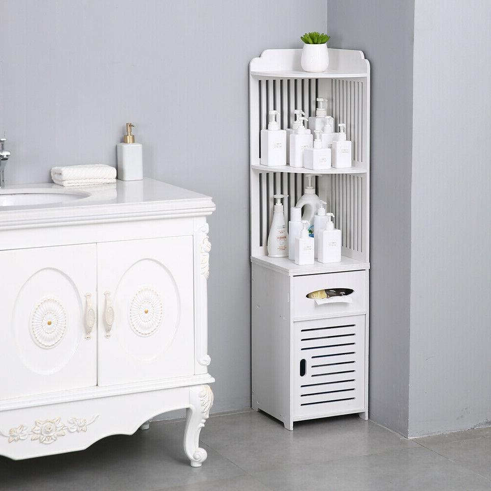 Simple Bathroom Corner Shelf Cabinet Organizer Paper