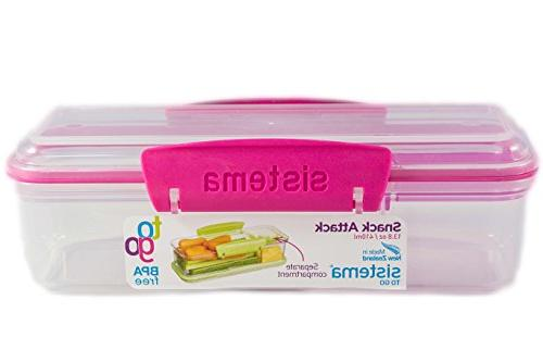 Sistema Snack Attack To Go Two compartments Lunch Container, 2-Pack