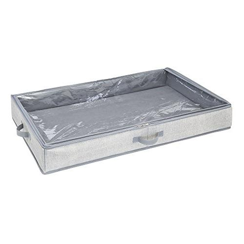 mDesign Wrap Organizer Box - Easy-View Clear Attached 2-Way Zippered Lid, Rolls Gift - Pack - Gray