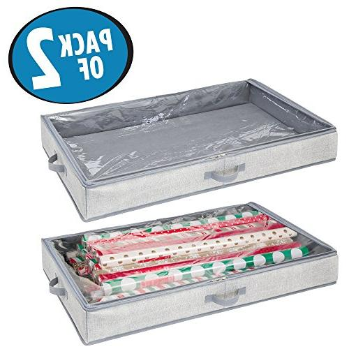 mDesign Wrap Organizer Box Easy-View Panel, Attached 2-Way Side Stores Rolls Gift Wrap - 2 Pack - Gray