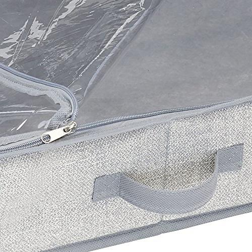 mDesign Soft Fabric Box - Easy-View Attached Zippered Lid, Side Handles, Long Rolls of Wrap - Pack - Gray