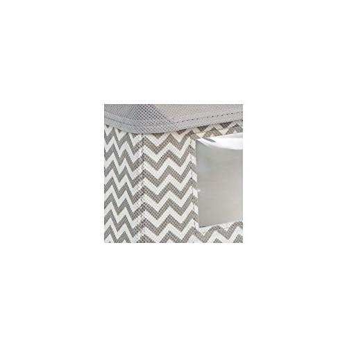 mDesign Stackable Fabric Closet Storage Holder Bin Attached Hinged for Entryway, Bathroom Chevron - Taupe/Natural