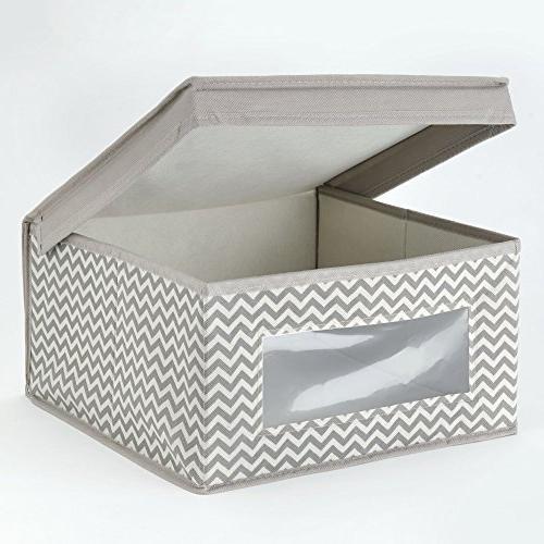 mDesign Soft Fabric Closet Bin with Window, Attached Hinged for Bedroom, Hallway, Bathroom Print - Medium, -