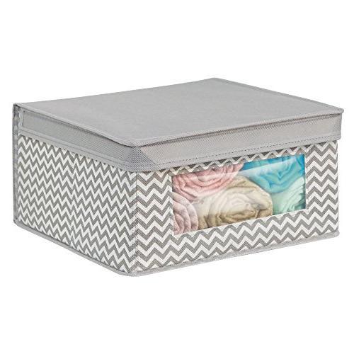mDesign Soft Closet Storage Organizer Holder Bin Clear Attached Lid for Bedroom, Bathroom