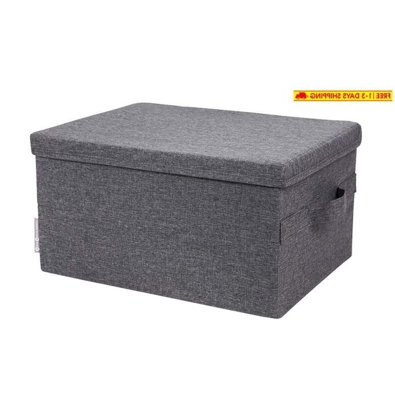 soft storage box with lid large grey
