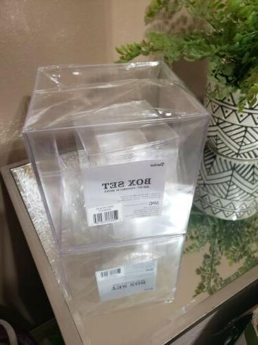 Darice Square Set, Plastic, 3 Pieces Storage Box Clear, Pack