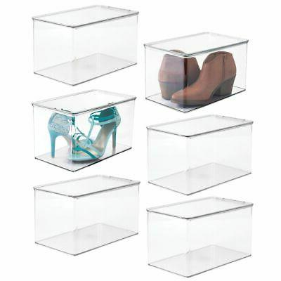 "mDesign Stackable Closet Storage Bin Box with Lid, 9"" High"