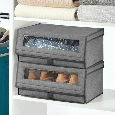mDesign Stackable Closet Storage Box Large