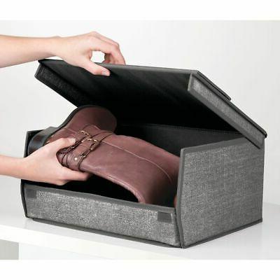 mDesign Stackable Storage Shoe Box - Large