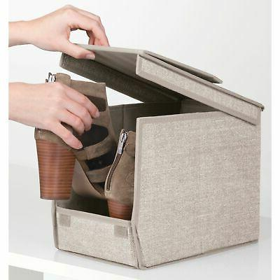 mDesign Fabric Storage Shoe Medium, Linen/Tan