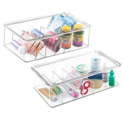mDesign Stackable Plastic Storage Bin Box with Lid - Divided