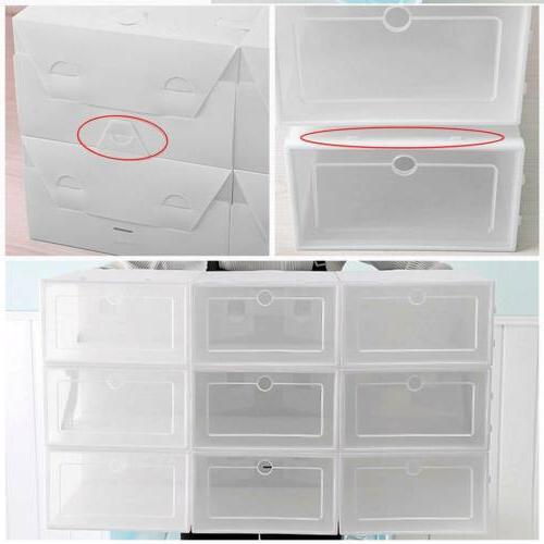 12/24Pcs Foldable Shoe Storage Plastic Transparent Case Stackable Organizer