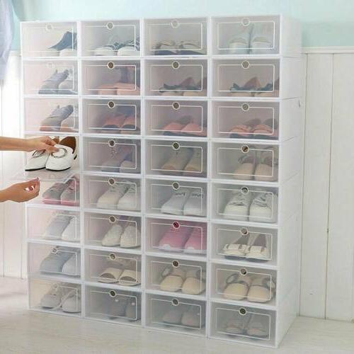 12 24pcs foldable shoe box storage plastic