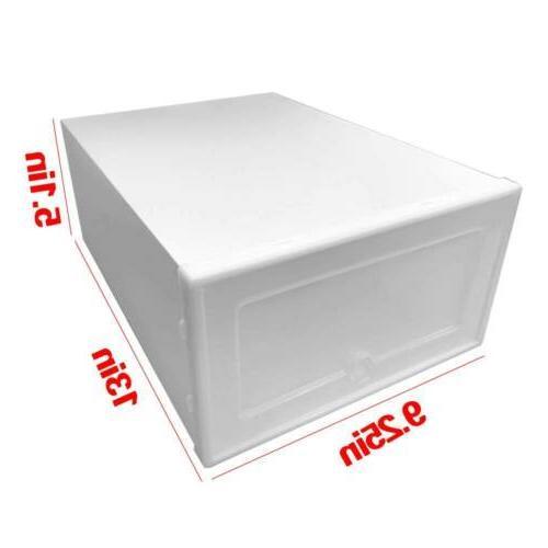 12/24Pcs Foldable Shoe Box Storage Plastic Case Stackable