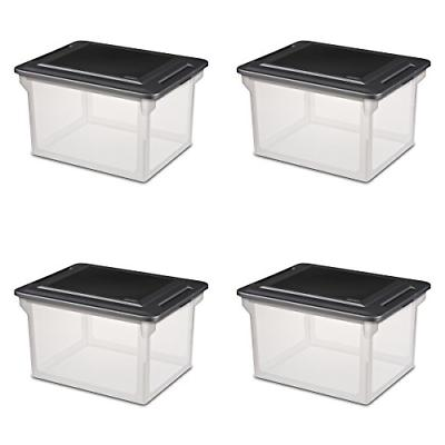 Sterilite File Box Storage Container Clear Base w/ Black Lid