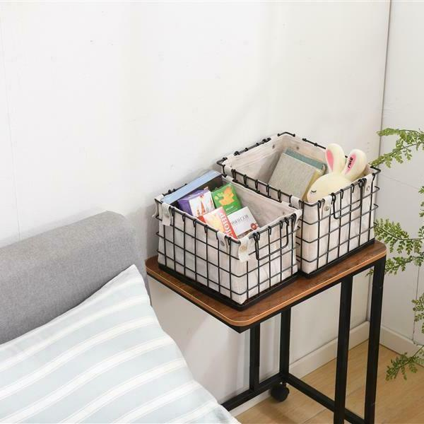 Storage Basket Set Canvas Lined Organizer