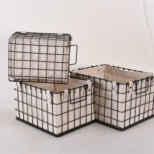 Storage Basket Canvas Lined Brushed Organizer Box